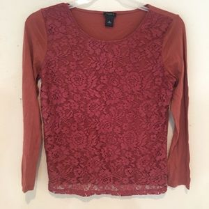 Ann Taylor Lace Overlay Long Sleeve Crew Neck